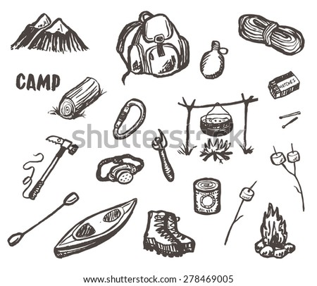 Hand drawn vector camping and hiking sketch set. - stock vector
