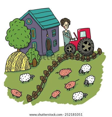 Hand Drawn Vector Cartoon Farm with the Farmer fixing Tractor, Pigs and Sheep - stock vector