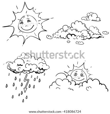 Hand Drawn Vector Childrens Coloring Book With Rain Cloud Sun Lightning