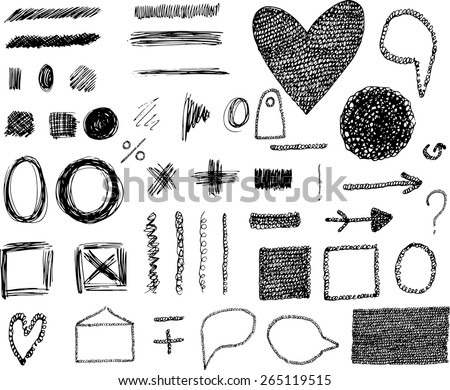 Hand drawn vector design elements. Frames, borders, circles, speech bubbles and other elements.  - stock vector