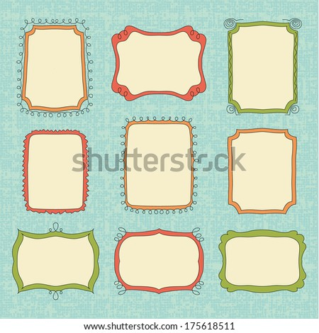 Hand-Drawn vector doodle frames. Color set border - stock vector