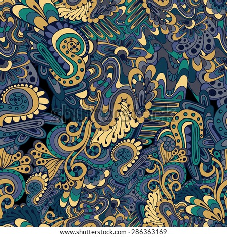 Hand drawn vector doodles seamless pattern in blue and yellow colors.