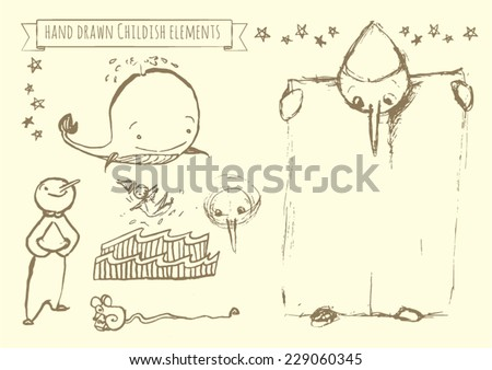 Hand drawn vector elements set for kids: Pinocchio fairytale doodles. There is stars, wooden puppet, sea scenery, a smiling whale, a mouse with cheese and Pinocchio holding a poster in his hands. - stock vector