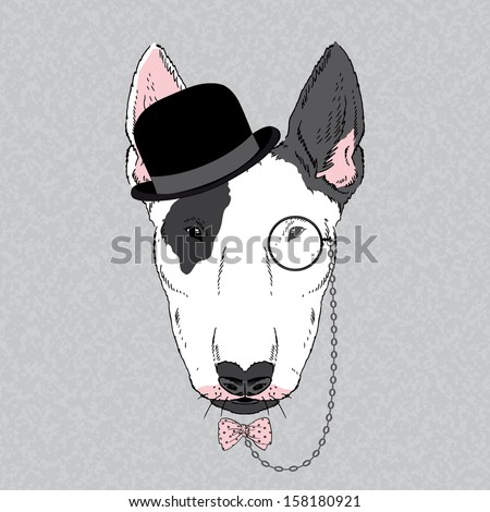 Hand Drawn Vector Fashion Portrait of Bullterrier - stock vector