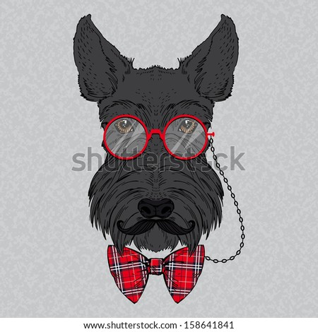 Hand Drawn Vector Fashion Portrait of Scottish Terrier - stock vector