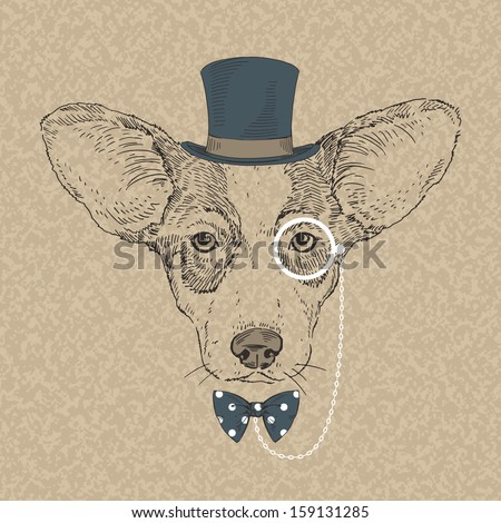 Hand Drawn Vector Fashion Portrait of Welsh Corgi - stock vector