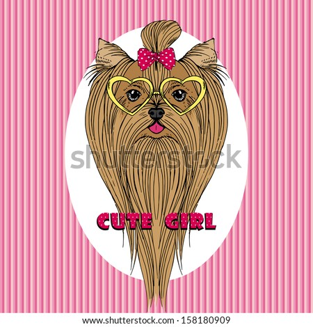 Hand Drawn Vector Fashion Portrait of Yorkshire Terrier - stock vector