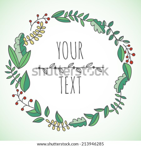 Hand drawn vector floral wreath - stock vector