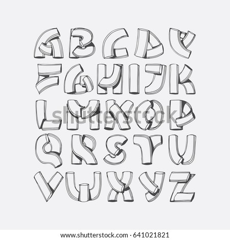 Hand Drawn Vector Font Imitation Of 3d Letters Abc Sequence From A To Z