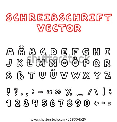 Hand Drawn Vector Font Latin German Alphabet With Punctuation Marks Set Of