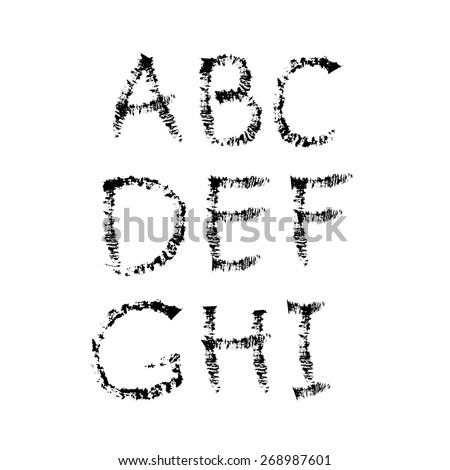 Hand-drawn vector font. Sloppy brush strokes. Separate letters A, B, C, D, E, F, G, H ,I - stock vector