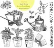 Hand drawn vector garden tools. Garden equipment: shovel, rake,seedlings, seeds, watering can, garden cart.Gardening, farming and agriculture sketch. - stock vector