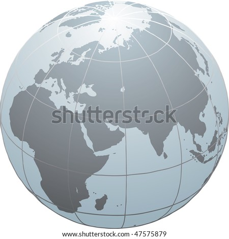 Hand drawn vector globe with Africa, Europe and Asia - stock vector