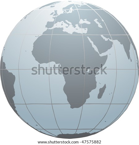 Hand drawn vector globe with Africa, Europe and part of Asia - stock vector
