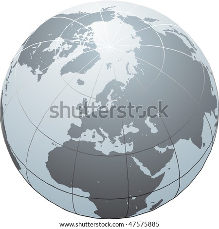 Hand drawn vector globe with Africa, Europe, Asia and North America - stock vector