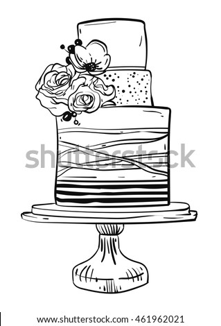 wedding cake outline clip art vector birthday wedding stock vector 23366