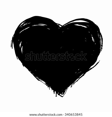 Hand drawn vector heart with rough edge. Dry brush ink illustration. - stock vector