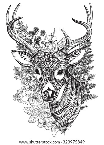 Hand drawn vector horned deer with high details ornament, flowers and herbs on white background - stock vector