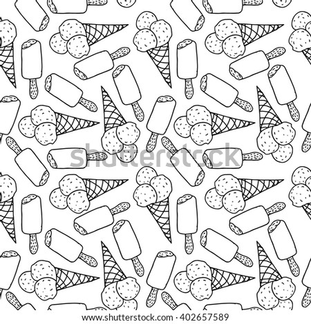 hand drawn vector ice cream seamless pattern illustration