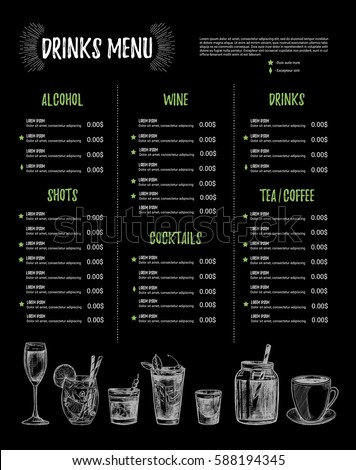 Hand Drawn Vector Illustration   Bar Menu. Design Template With  Illustrations In Sketch Style.  Drinks Menu Template