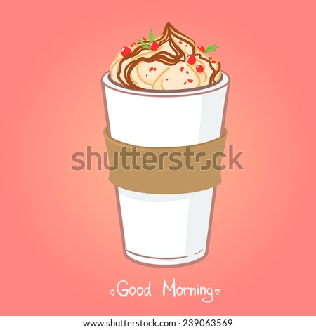Hand drawn vector illustration - coffee drink with chocolate. - stock vector