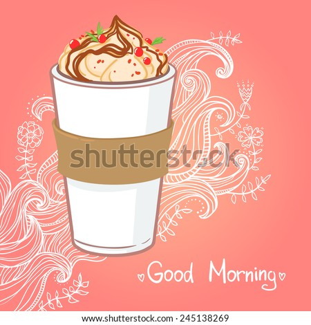 Hand drawn vector illustration - coffee drink with chocolate - stock vector