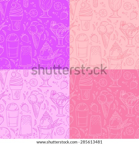 Hand drawn vector illustration - Collection of ice cream. Seamless pattern - stock vector