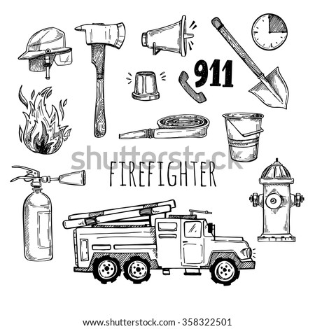 Hand drawn vector illustration - firefighter. Sketch icons - stock vector