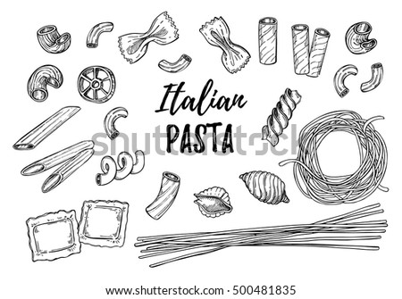 Hand drawn vector illustration - Italian pasta. Different kinds of pasta. Design elements in sketch style. Perfect for menu, cards, blogs, banners.