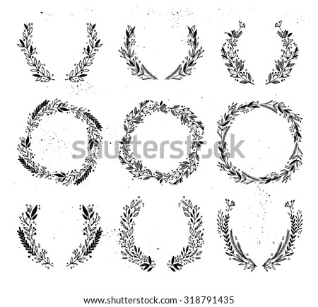 Hand drawn vector illustration - Laurels and wreaths. Design elements for invitations, greeting cards, quotes, blogs, posters and more. Perfect For Wedding Frames. - stock vector