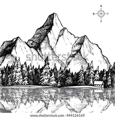 hand drawn black white mountain landscape stock vector