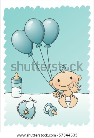 Hand-drawn vector illustration of a baby boy with baby items, such as a bottle of milk, a napkin, a pacifier and balloons. - stock vector