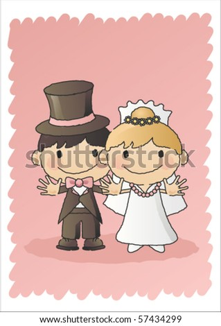 Hand-drawn vector illustration of a happy bride and groom on their wedding day. - stock vector