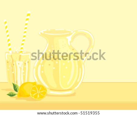 hand drawn vector illustration of a jug of lemonade with a glass two straws and fresh lemons on a yellow background