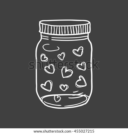 Hand drawn vector illustration of a mason jar filled with hearts, wedding and romance concept illustration - stock vector