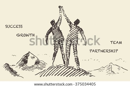 Hand drawn vector illustration of a two a successful climbers on a mountain, sketch. Teamwork, partnership concept. Vector illustration, sketch - stock vector