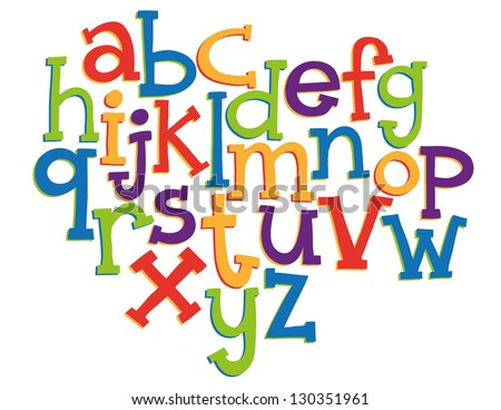 Hand-drawn vector illustration of alphabet letters - stock vector