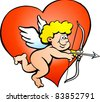 Hand-drawn Vector illustration of an Amor Angel Boy - stock photo