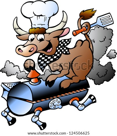 Hand-drawn Vector illustration of an Chef  Cow riding a BBQ barrel - stock vector