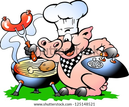 Hand-drawn Vector illustration of an Chef Pig standing and making BBQ - stock vector