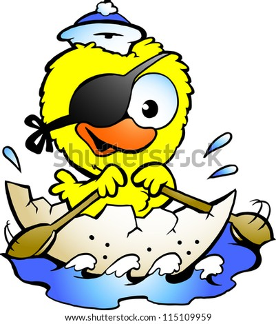 Hand-drawn Vector illustration of an cute baby chicken rowing a boat