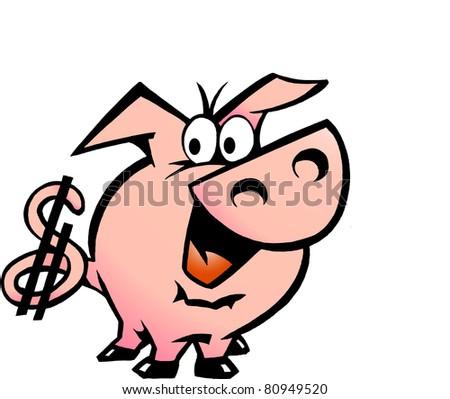 Hand-drawn Vector illustration of an Dollar Pig - stock vector