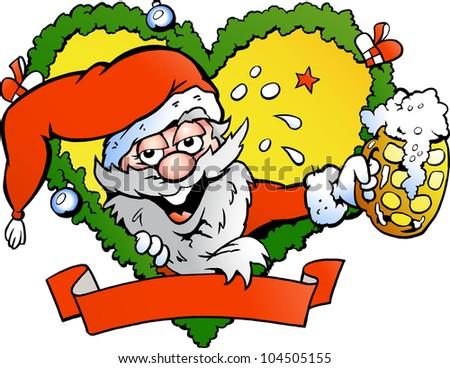 Hand-drawn Vector illustration of an drunk santa - stock vector