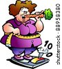 Hand-drawn Vector illustration of an Fat Lady - stock vector