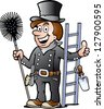 Hand-drawn Vector illustration of an Happy Chimney Sweep - stock photo