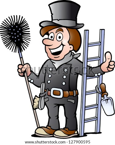 Hand-drawn Vector illustration of an Happy Chimney Sweep - stock vector