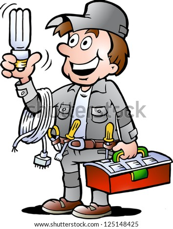 Hand-drawn Vector illustration of an happy Electrician Handyman, holding a energysaving light bulb - stock vector