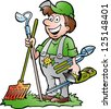 Hand-drawn Vector illustration of an happy Gardener standing with his garden tool - stock vector