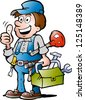 Hand-drawn Vector illustration of an happy Plumber Handyman, giving thumb up - stock vector