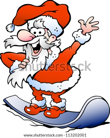 Hand-drawn Vector illustration of an Happy Santa on snowboard - stock vector